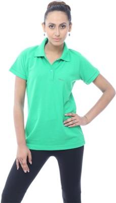 Unicolr Solid Women's Polo Neck Light Green T-Shirt