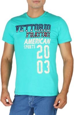 Vettorio Fratini Printed Men,s Round Neck Green T-Shirt