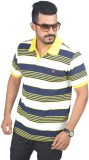Woodside Solid Men's Polo Neck Yellow T-...