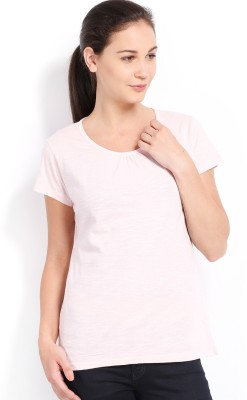 Ten on Ten Solid Women's Round Neck Pink T-Shirt
