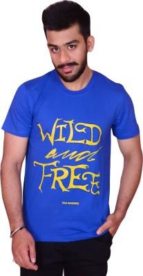 Inez Printed Men's Round Neck Blue T-Shirt