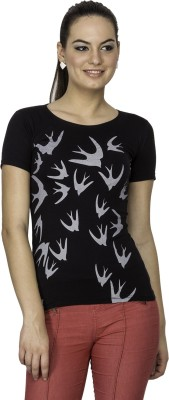 Le Bison Printed Women's Round Neck Black T-Shirt