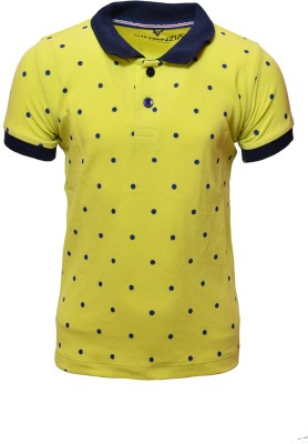 Vinenzia Polka Print Boy's Polo Neck Green T-Shirt