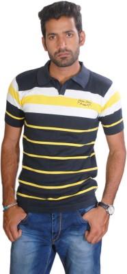 Cotton Stich Striped Men,s Polo Neck Multicolor T-Shirt