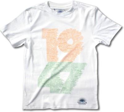 Tricolor Nation Graphic Print Men's Round Neck White, Orange, Green T-Shirt