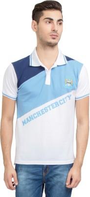 Manchester City FC Printed Men's Mandarin Collar White T-Shirt