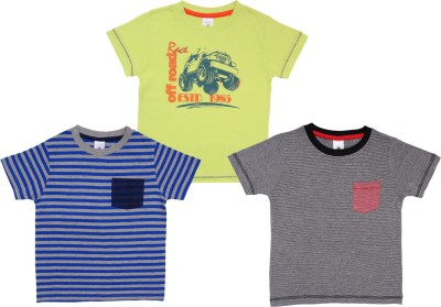 Bio Kid Printed Boy's Round Neck Yellow, Blue, Black T-Shirt