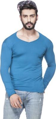 Tinted Solid Men's V-neck Blue T-Shirt