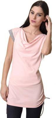 Rute Solid Women's Fashion Neck Pink, Grey T-Shirt