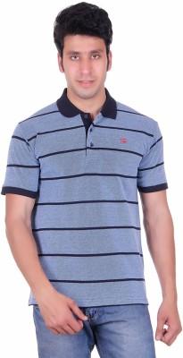 Deutz Striped Men's Polo Neck Dark Blue T-Shirt
