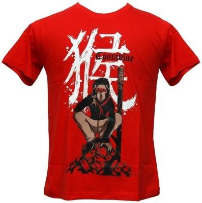 Contablue Graphic Print Men's Round Neck Red T-Shirt