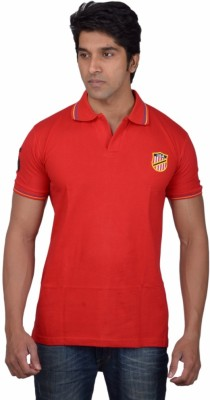 Tavara Solid Men's Polo Neck Red T-Shirt
