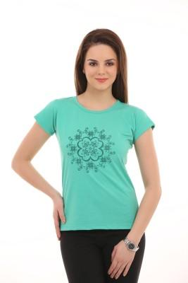 Ultrafit Printed Women's Round Neck Light Green T-Shirt
