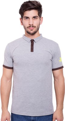 Jangoboy Solid Men's Turtle Neck Grey, Brown T-Shirt