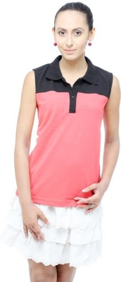 Unicolr Solid Women's Polo Neck Pink, Black T-Shirt