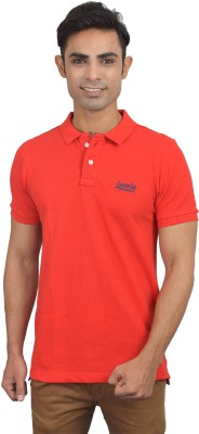London Eye Solid Men,s Polo Neck Red, Blue T-Shirt