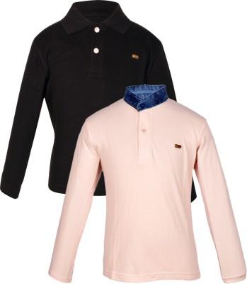 Gkidz Solid Boy's Mandarin Collar T-Shirt