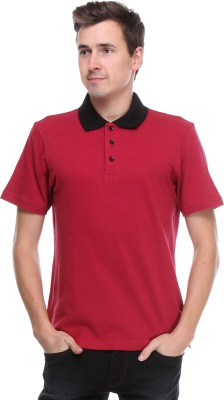 OPG Solid Men's Polo Neck Maroon T-Shirt