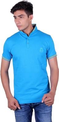 All Ruggby Embroidered Men's Mandarin Collar Light Blue T-Shirt