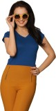 Miss Chase Solid Women's V-neck Blue T-S...