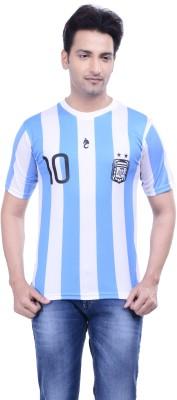 DINAAR Printed Men's Round Neck White, Blue T-Shirt