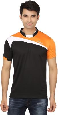 Keewi Solid Men's Fashion Neck Black, Orange T-Shirt