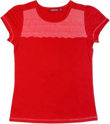 Campana Applique Girl's Round Neck Red T-Shirt
