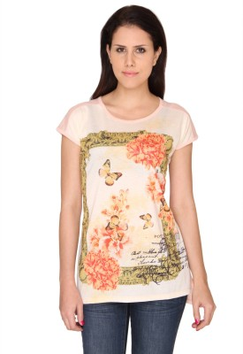 Bedazzle Printed Women's Round Neck Pink T-Shirt
