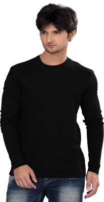 Elegance Cut Solid Men's Round Neck Black T-Shirt