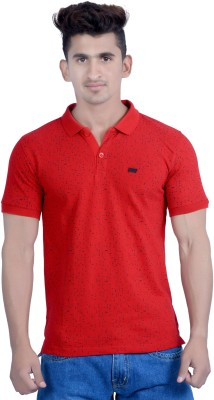 Parv Collections Printed Men's Polo Neck Red T-Shirt