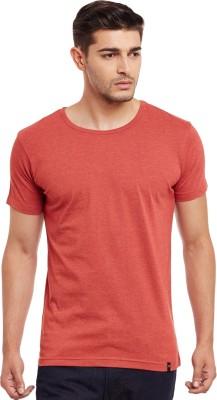 The Vanca Solid Men's Round Neck Orange T-Shirt