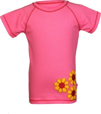 Nino Bambino Embroidered Girl's Round Neck Pink T-Shirt