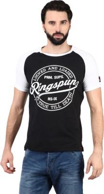 Ringspun Printed Men's Round Neck Black T-Shirt
