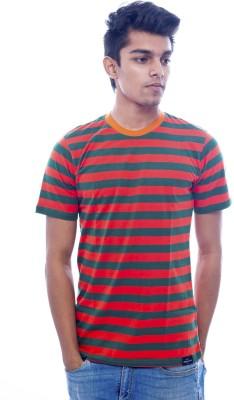 Urban Flux Striped Men's Round Neck Red, Green T-Shirt