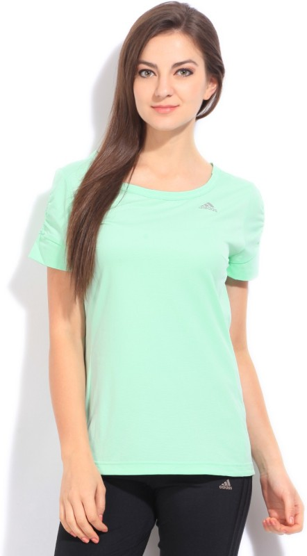 Adidas Solid Women's Round Neck Green T-Shirt