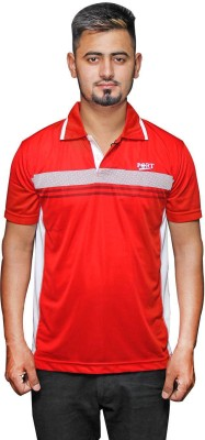 Port Solid Men's V-neck Red T-Shirt