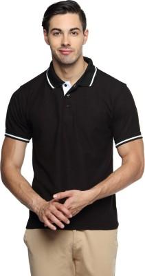 TerraVulc Solid Men's Polo Neck Black T-Shirt