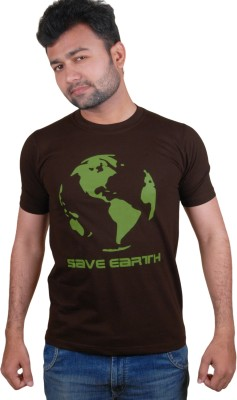Tymstyle Printed Men,s Round Neck Brown, Green T-Shirt