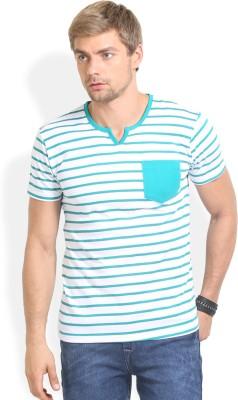 Thisrupt Striped Men's Round Neck Green T-Shirt