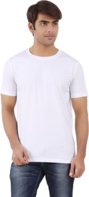 East West Solid Men,s Round Neck White T-Shirt