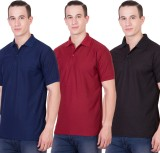 Randier Solid Men's Polo Neck Dark Blue,...