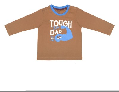Wowmom Printed Baby Boy's Round Neck Brown T-Shirt