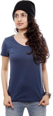 Viral Lifestyle Solid Women's Round Neck Blue T-Shirt