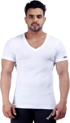 Male Basics Solid Men's V-neck White T-Shirt