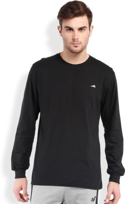 2go Solid Men's Round Neck Black T-Shirt