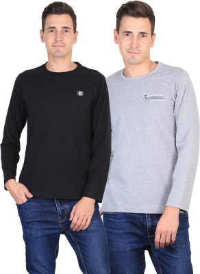 Duke Solid Men's Round Neck Black, Grey T-Shirt