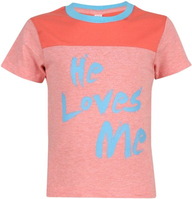 Luke and Lilly Printed Baby Boy's Round Neck Pink T-Shirt