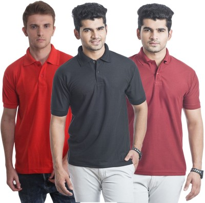 Bainsons Solid Men,s Polo Red, Black, Maroon T-Shirt