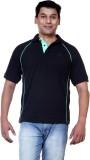 Ashdan Solid Men's Polo Neck Black T-Shi...
