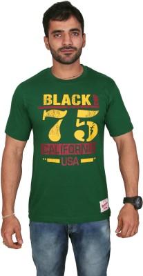 Black Chip Printed Men's Round Neck Dark Green T-Shirt